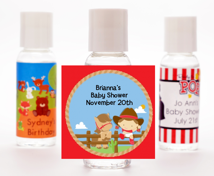 Little Cowgirl - Personalized Baby Shower Hand Sanitizers Favors pink