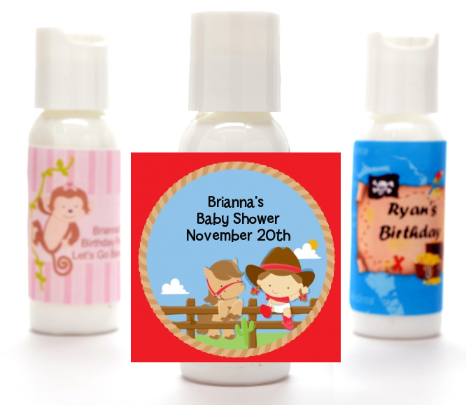 Little Cowgirl - Personalized Baby Shower Lotion Favors pink