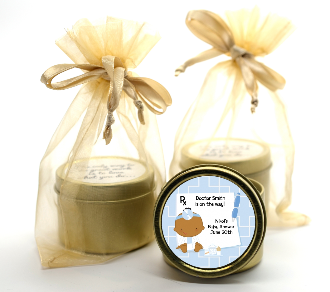 Little Doctor On The Way - Baby Shower Gold Tin Candle Favors Caucasian