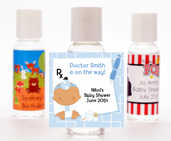Little Doctor On The Way - Personalized Baby Shower Hand Sanitizers Favors Caucasian