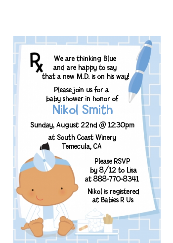 Little Doctor On The Way - Baby Shower Petite Invitations Caucasian