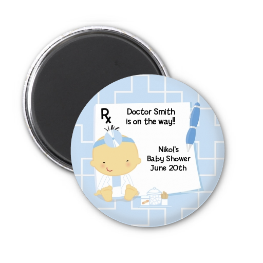 Little Doctor On The Way - Personalized Baby Shower Magnet Favors Caucasian