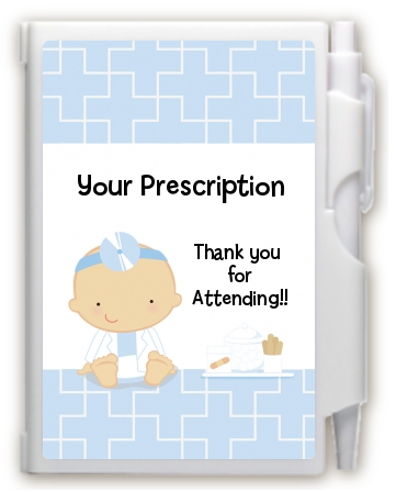 Little Doctor On The Way - Baby Shower Personalized Notebook Favor Caucasian