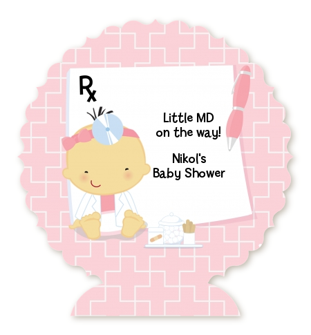 Little Girl Doctor On The Way - Personalized Baby Shower Centerpiece Stand Caucasian