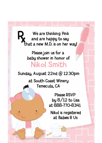Little Girl Doctor On The Way - Baby Shower Petite Invitations Caucasian
