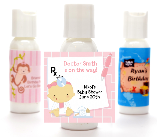 Little Girl Doctor On The Way - Personalized Baby Shower Lotion Favors Caucasian