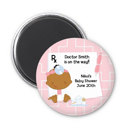 Little Girl Doctor On The Way - Personalized Baby Shower Magnet Favors Caucasian