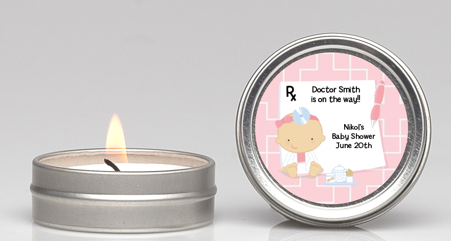 Little Girl Doctor On The Way - Baby Shower Candle Favors Caucasian