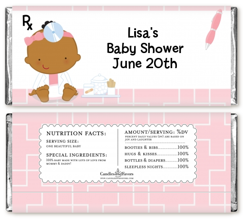 Little Girl Doctor On The Way - Personalized Baby Shower Candy Bar Wrappers Caucasian