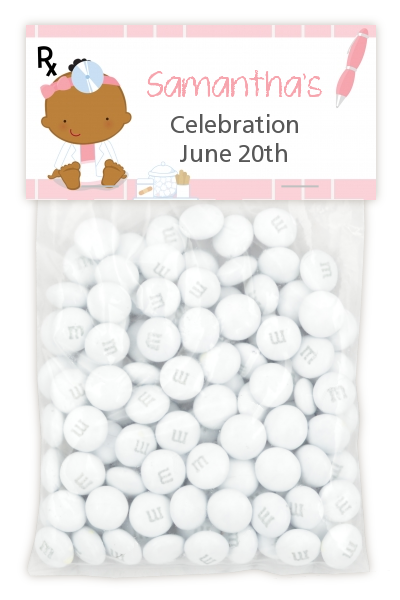 Little Girl Doctor On The Way - Custom Baby Shower Treat Bag Topper Caucasian