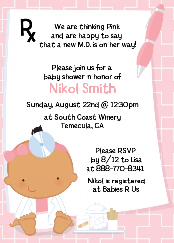 Little Girl Doctor On The Way - Baby Shower Invitations Caucasian
