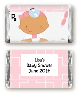 Little Girl Doctor On The Way - Personalized Baby Shower Mini Candy Bar Wrappers Caucasian