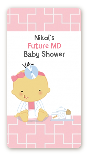 Little Girl Doctor On The Way - Custom Rectangle Baby Shower Sticker/Labels Caucasian