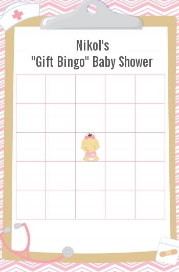 Little Girl Nurse On The Way - Baby Shower Gift Bingo Game Card Caucasian