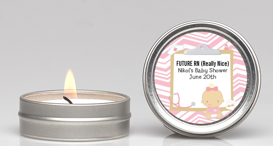 Little Girl Nurse On The Way - Baby Shower Candle Favors Caucasian