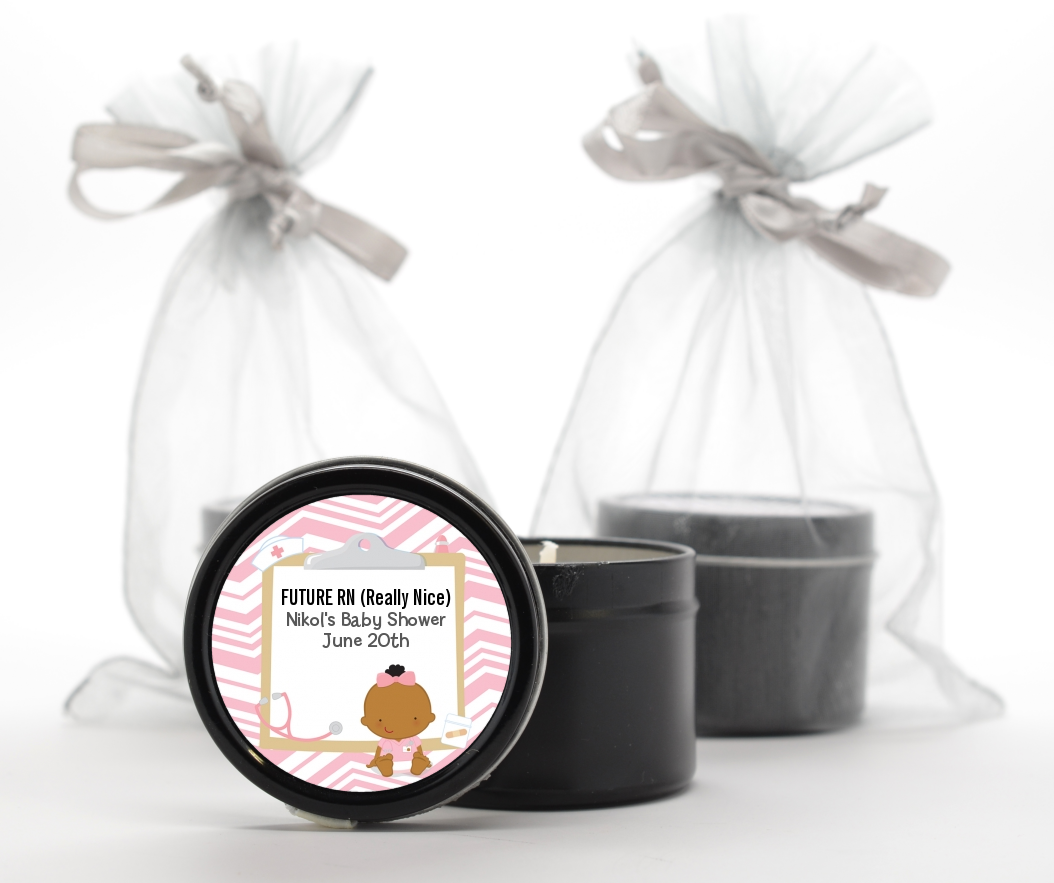 Little Girl Nurse On The Way - Baby Shower Black Candle Tin Favors Caucasian