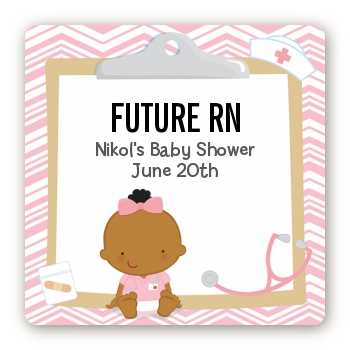 Little Girl Nurse On The Way - Square Personalized Baby Shower Sticker Labels Caucasian