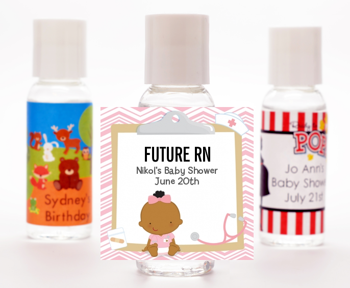 Little Girl Nurse On The Way - Personalized Baby Shower Hand Sanitizers Favors Caucasian