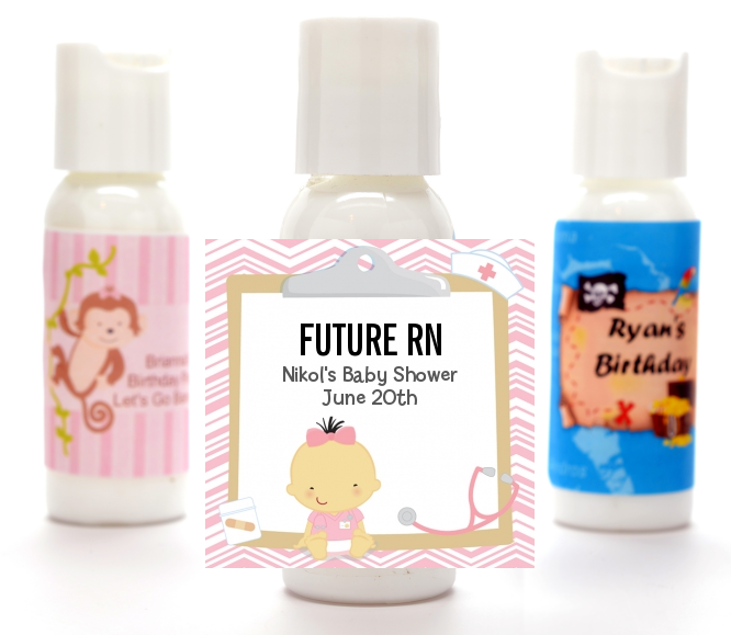 Little Girl Nurse On The Way - Personalized Baby Shower Lotion Favors Caucasian