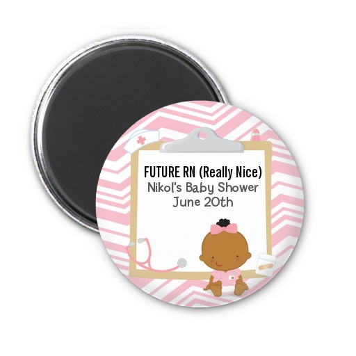 Little Girl Nurse On The Way - Personalized Baby Shower Magnet Favors Caucasian