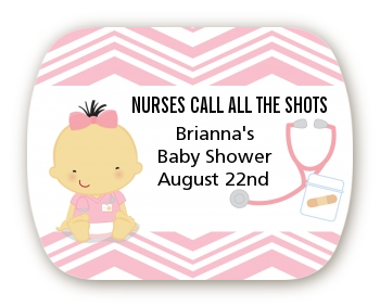 Little Girl Nurse On The Way - Personalized Baby Shower Rounded Corner Stickers Caucasian