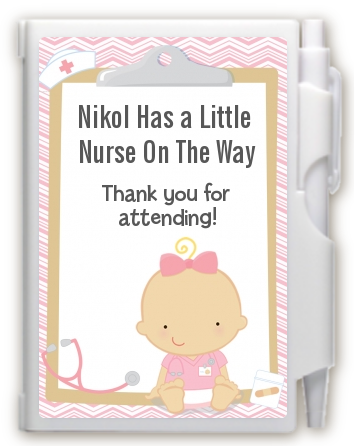 Little Girl Nurse On The Way - Baby Shower Personalized Notebook Favor Caucasian