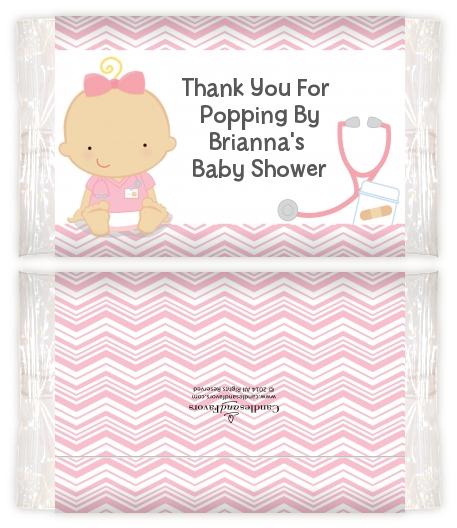 Little Girl Nurse On The Way Baby Shower Popcorn Wrappers Baby