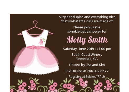 Little Girl Outfit - Baby Shower Petite Invitations Black Background