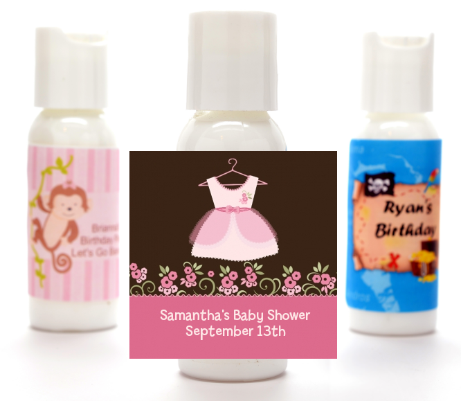 Little Girl Outfit Personalized Baby Shower Lotion Favors