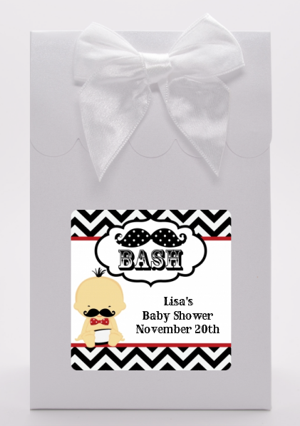Little Man Mustache Black/Grey - Baby Shower Goodie Bags African American