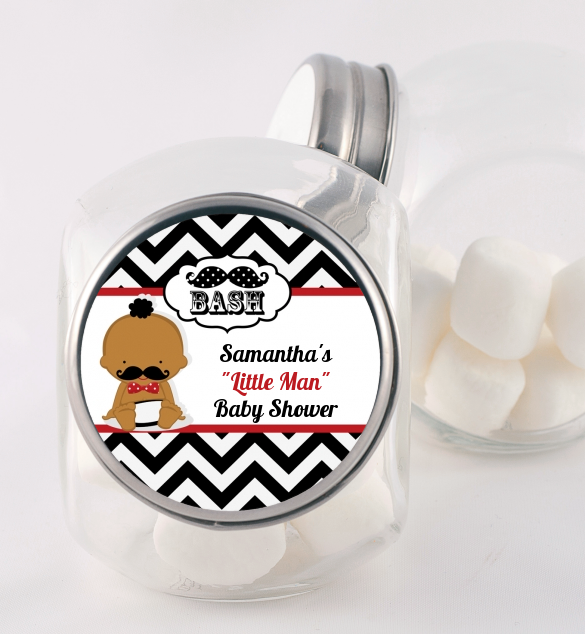 Little Man Mustache Black/Grey - Personalized Baby Shower Candy Jar Caucasian