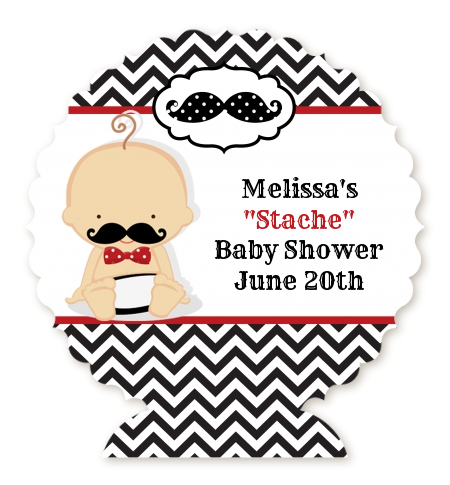 Little Man Mustache Black/Grey - Personalized Baby Shower Centerpiece Stand Caucasian