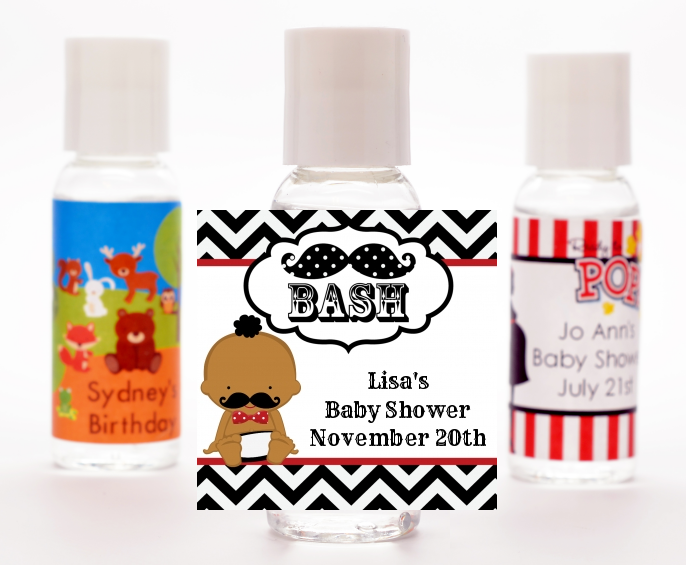Little Man Mustache Black/Grey - Personalized Baby Shower Hand Sanitizers Favors African American