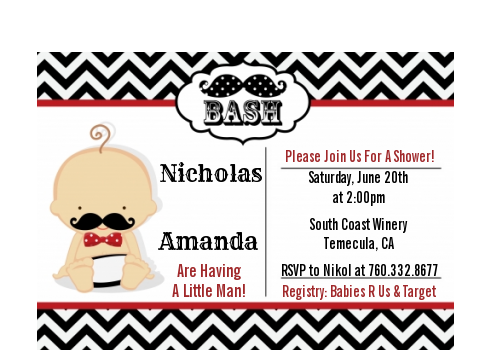 Little Man Mustache Black/Grey - Baby Shower Petite Invitations African American Black/Red