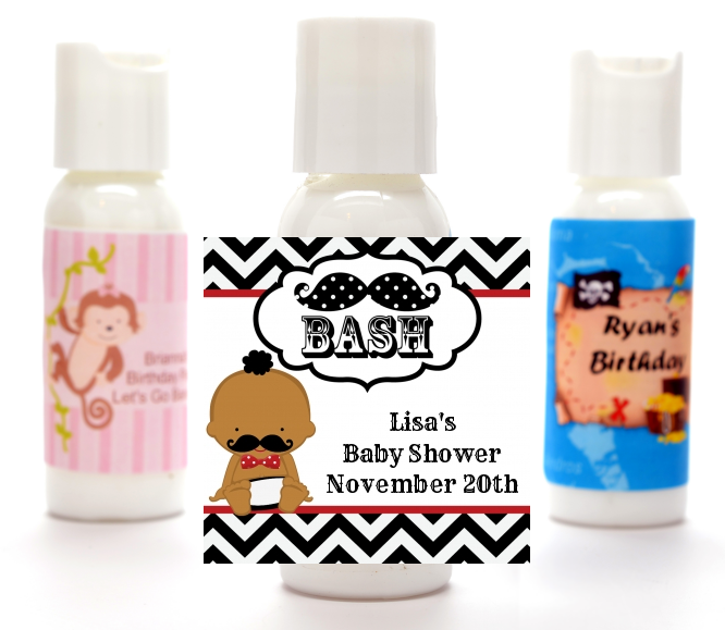 Little Man Mustache Black/Grey - Personalized Baby Shower Lotion Favors African American