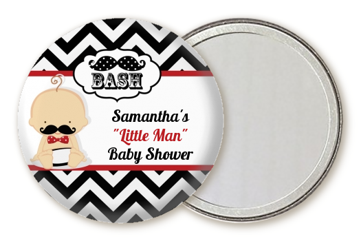 Little Man Mustache Black/Grey - Personalized Baby Shower Pocket Mirror Favors Caucasian