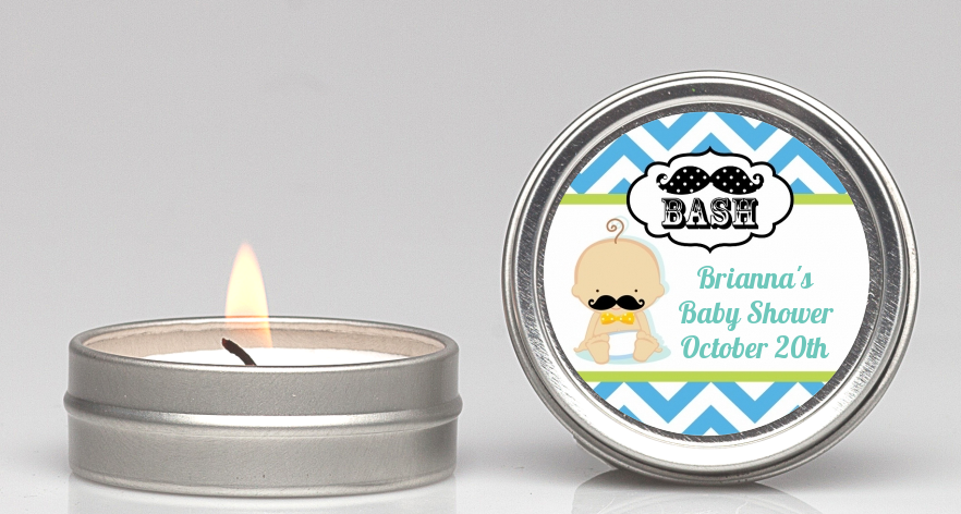 Little Man Mustache - Baby Shower Candle Favors Caucasian
