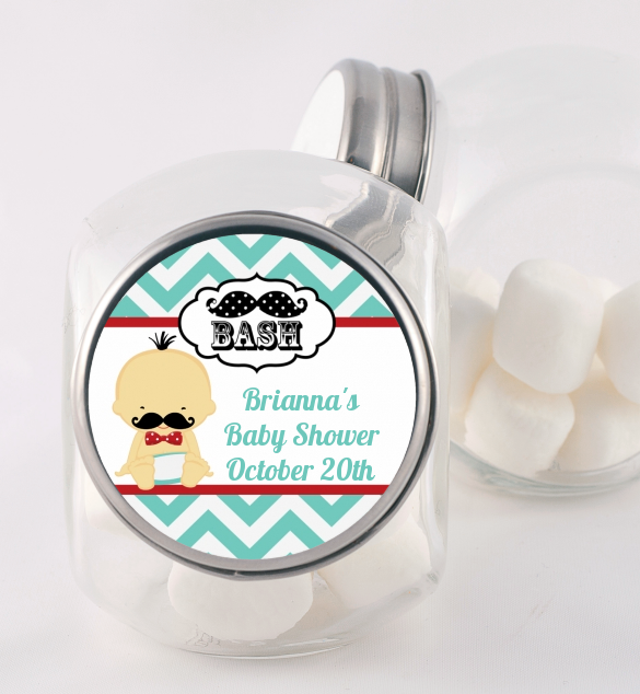 Little Man Mustache - Personalized Baby Shower Candy Jar Caucasian
