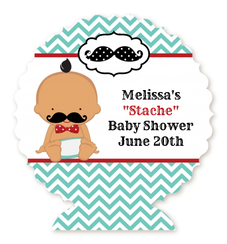 Little Man Mustache - Personalized Baby Shower Centerpiece Stand Caucasian