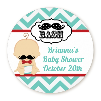 little man mustache round baby shower sticker labels caucasian