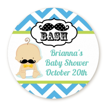 ... Little Man Mustache   Round Personalized Baby Shower Sticker Labels  Caucasian ...
