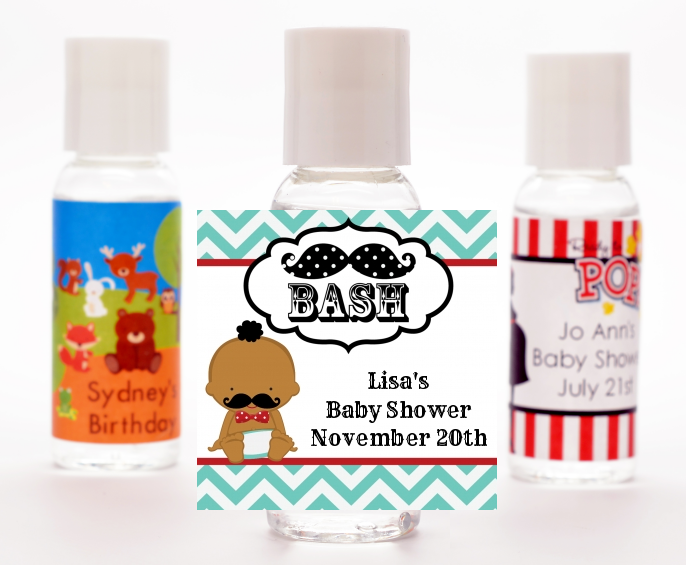 Little Man Mustache - Personalized Baby Shower Hand Sanitizers Favors African American