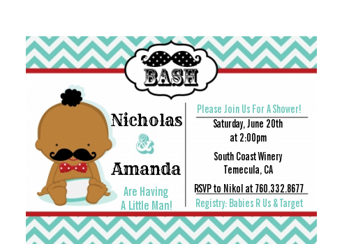 Little Man Mustache - Baby Shower Petite Invitations African American