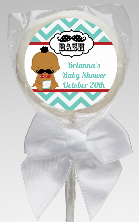 Little Man Mustache - Personalized Baby Shower Lollipop Favors Caucasian