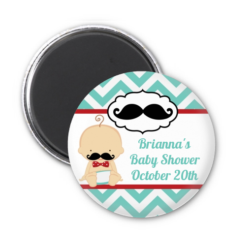 Little Man Mustache - Personalized Baby Shower Magnet Favors Caucasian