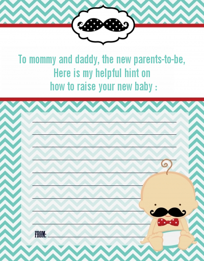 Little Man Mustache   Baby Shower Notes Of Advice Caucasian