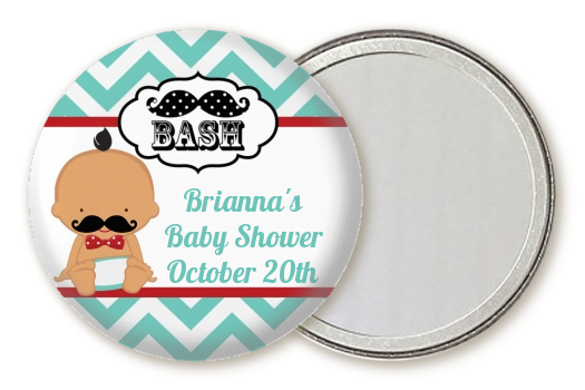 Little Man Mustache - Personalized Baby Shower Pocket Mirror Favors Caucasian