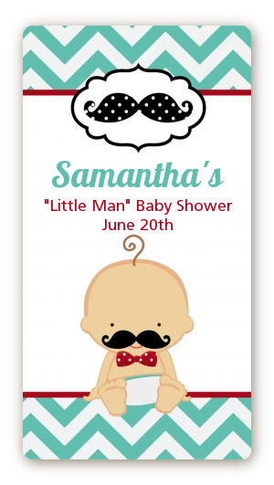 Little Man Mustache   Custom Rectangle Baby Shower Sticker/Labels Caucasian  Boy