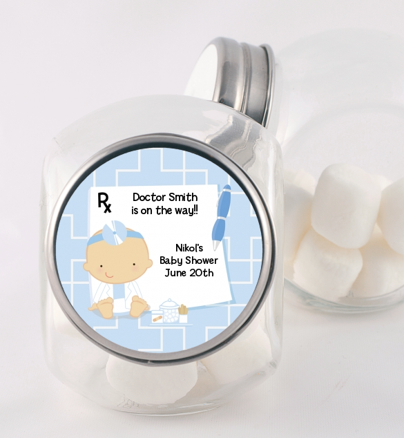 Little Doctor On The Way Baby Shower Candy Jars Candles Favors