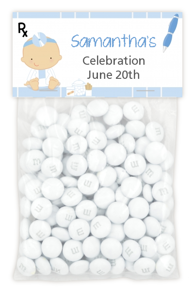 Little Doctor On The Way - Custom Baby Shower Treat Bag Topper Caucasian